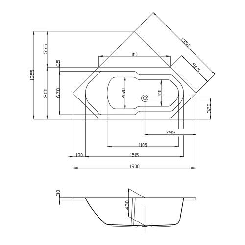 HO BW Arica 6-Eck 1900x800 , weiß - Design in Bad | {Sechseck badewanne maße 71}
