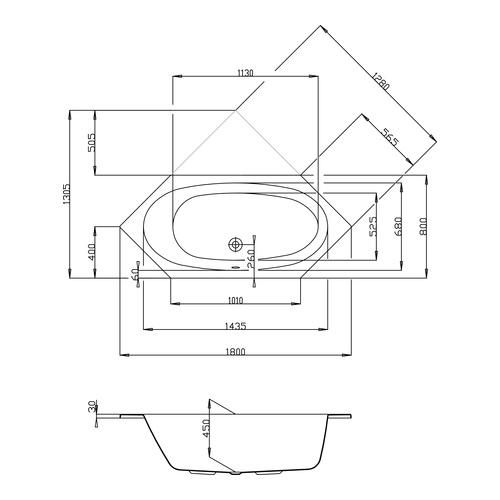 HO BW Armada 6-Eck 1800x800, weiß - Design in Bad | {Sechseck badewanne maße 39}