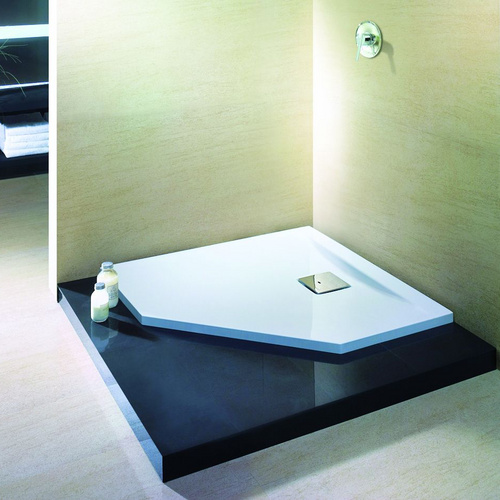 Thasos Fünfeck-Duschwanne ultraflach 90 x 90 x 3 cm