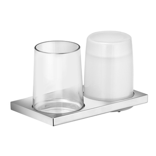 keuco edition 11 doppelhalter mit glas und lotionsspender 11153 design in bad. Black Bedroom Furniture Sets. Home Design Ideas