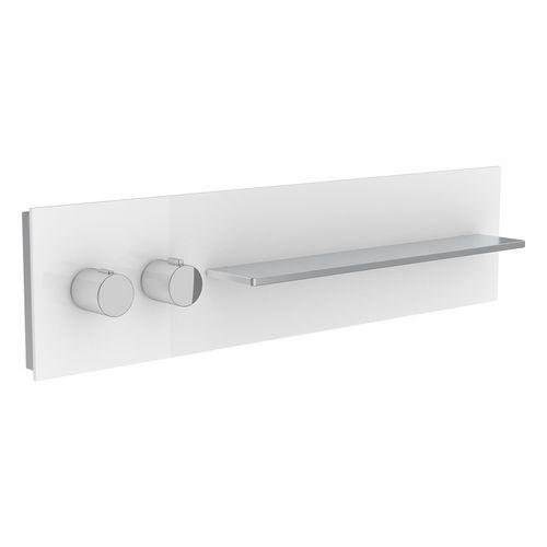 Thermostatbatterie meTime_spa 56162 2 Verbraucher, Griffe li, Glas weiß sat.