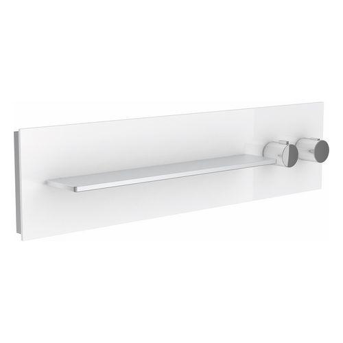 Thermostatbatterie meTime_spa 56162 2 Verbraucher, Griffe re, Glas weiß sat.