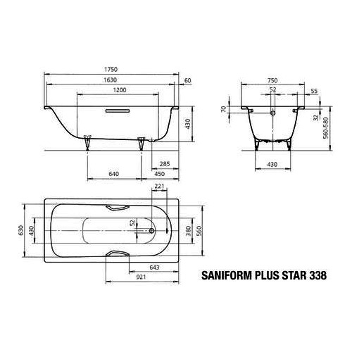 kaldewei badewanne advantage saniform plus star 338 175x75 cm design in bad. Black Bedroom Furniture Sets. Home Design Ideas