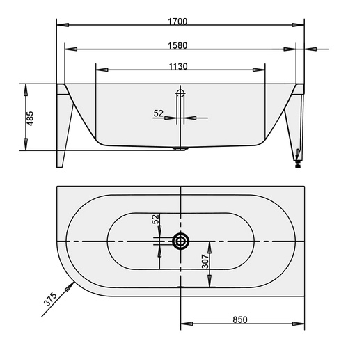 kaldewei kaldewei badewanne mittelschrankt centro duo1 links 1129 1700x750mm emaill sz sa. Black Bedroom Furniture Sets. Home Design Ideas