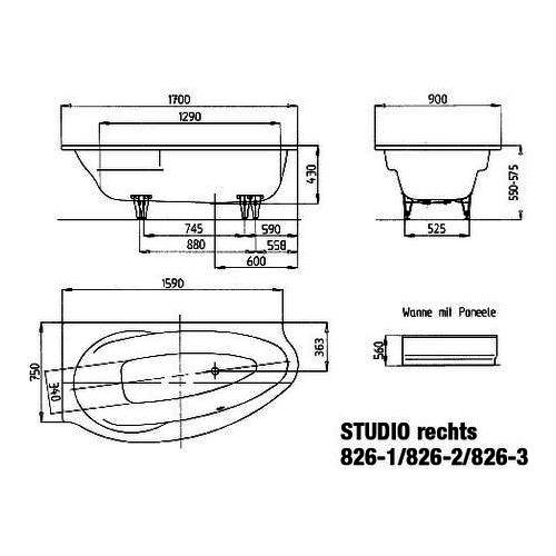kaldewei badewanne avantgarde studio rechts 826 2 170x90 cm design in bad. Black Bedroom Furniture Sets. Home Design Ideas