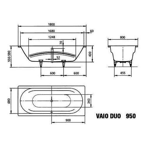 Kaldewei Vaio Duo 950 Rechteck - Badewanne 180 x 80 x 43 cm 1
