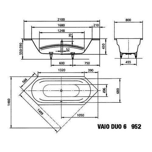 Kaldewei Badewanne Ambiente VAIO DUO 6 952 210x80x43 cm 23320001 ... | {Sechseck badewanne maße 64}
