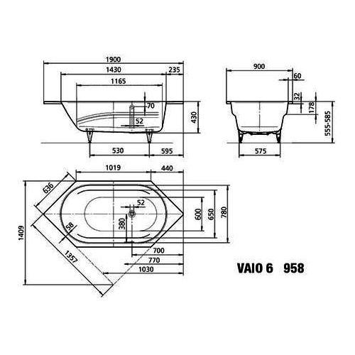 Sechseck badewanne maße  Kaldewei Badewanne Ambiente VAIO 6 958 190x90x43 cm 23380001 ...