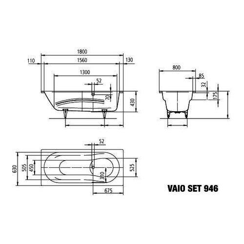 Kaldewei Badewanne Vaio Set Modell 946 180 x 80 x 43 cm, alpinweiß mit Perl-Effekt 2