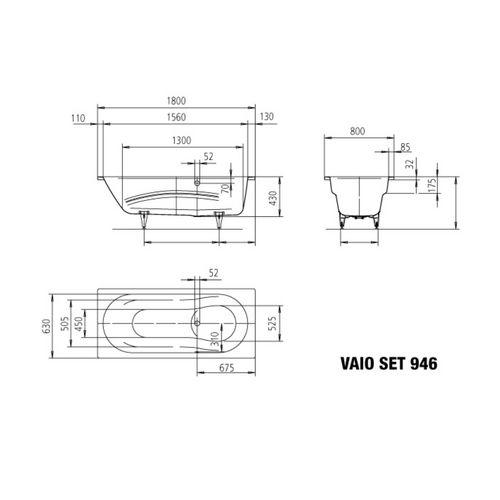 Kaldewei Badewanne Vaio Set Modell 946 180 x 80 x 43 cm, alpinweiß mit Perl-Effekt 3