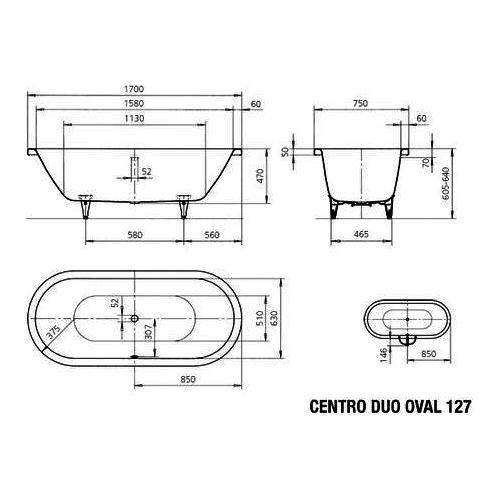 kaldewei badewanne avantgarde centro duo oval 127 170x75cm design in bad. Black Bedroom Furniture Sets. Home Design Ideas