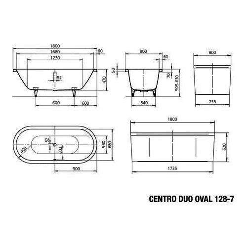 CENTRO DUO OVAL 128-7 Badewanne mit Verkleidung 180 x 80 x 47 cm