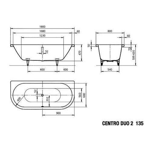 kaldewei badewanne avantgarde centro duo 2 135 180x80 cm. Black Bedroom Furniture Sets. Home Design Ideas