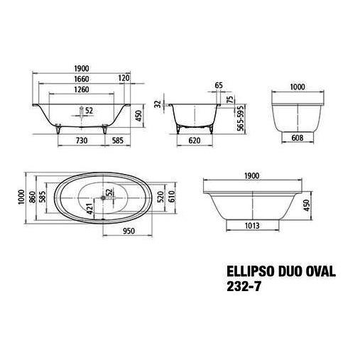 kaldewei badewanne avantgarde ellipso duo oval 232 7. Black Bedroom Furniture Sets. Home Design Ideas