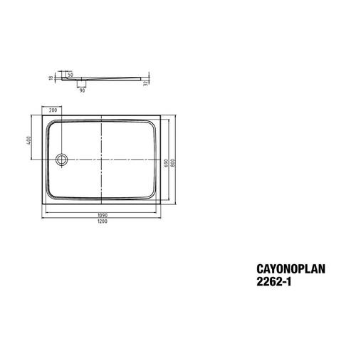 Kaldewei Cayonoplan Duschwanne 80 × 120 × 1,8 cm 1