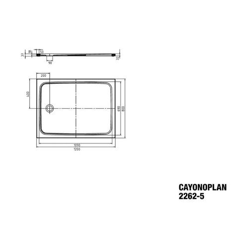 Kaldewei Cayonoplan Duschwanne 80 × 120 × 1,8 cm 2