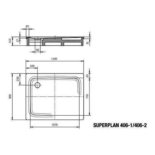 Kaldewei Superplan Duschwanne 120 × 90 × 2,5 cm 1