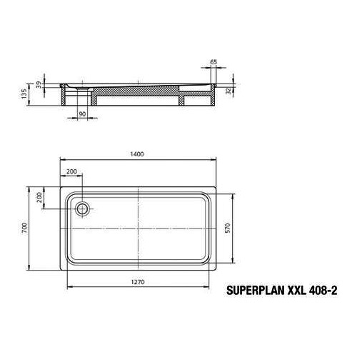 kaldewei superplan xxl stahl duschwanne 408 2 70 x 140 inkl tr ger 430848040001 design in bad. Black Bedroom Furniture Sets. Home Design Ideas