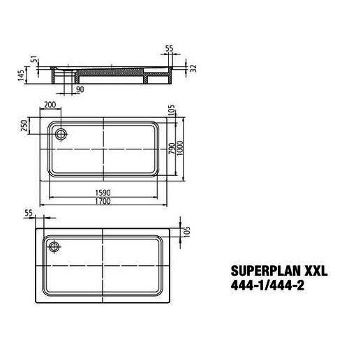 kaldewei superplan xxl stahl duschwanne 444 1 100 x 170 cm. Black Bedroom Furniture Sets. Home Design Ideas