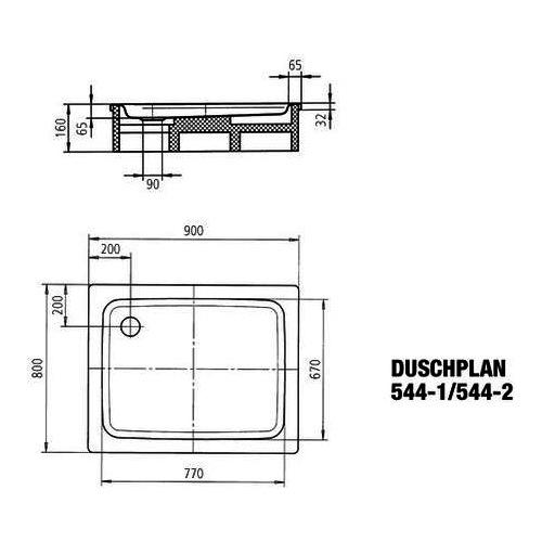 Kaldewei Duschplan Duschwanne 80 × 90 × 6,5 cm 1