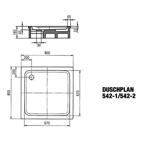 Kaldewei DUSCHPLAN Ambiente Stahl-Duschwanne 542-1 80 x 80 x 6,5 440500010001 1