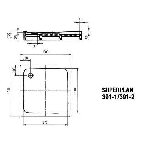kaldewei superplan duschwanne avantgarde 391 2 100x100 cm tr ger design in bad. Black Bedroom Furniture Sets. Home Design Ideas