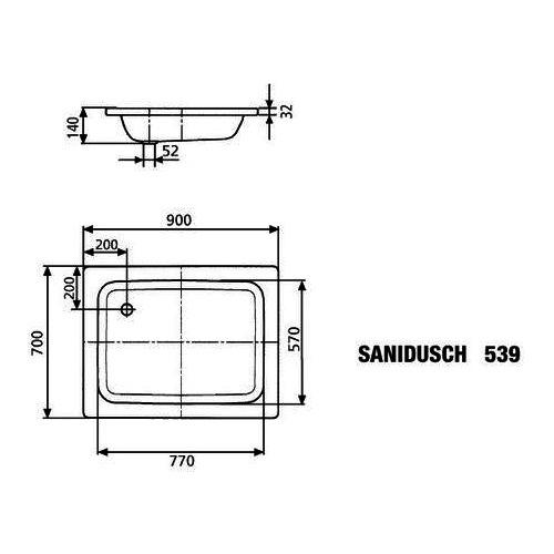 Kaldewei SANIDUSCH Stahl-Duschwanne 539-1 70 × 90 × 14 cm 447900010001 1