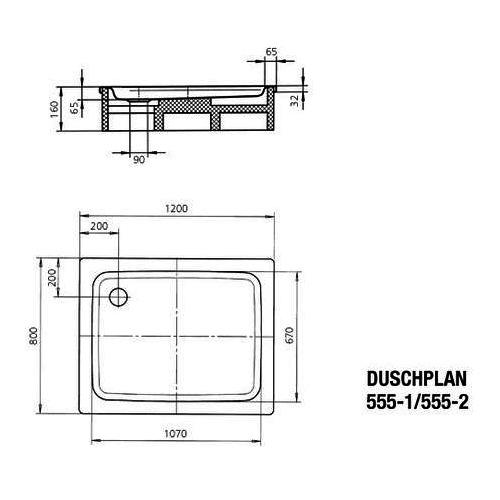 Kaldewei DUSCHPLAN Ambiente Stahl-Duschwanne 555-2 80 × 120 cm inkl. Träger 448248040001 1