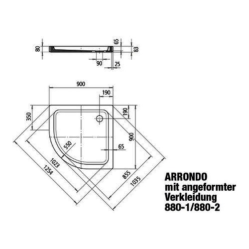 "Kaldewei Duschwanne ""Arrondo"" 90 × 90 × 6,5 cm 1"