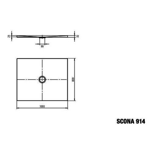 kaldewei scona 914 duschwanne 80 x 100 x 2 3 cm 49140001 design in bad. Black Bedroom Furniture Sets. Home Design Ideas