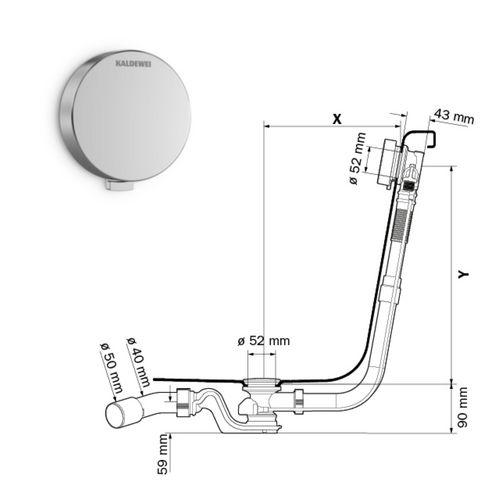 Ab-und Überlaufgarnitur COMFORT-LEVEL Modell 4001 Standard, chrom