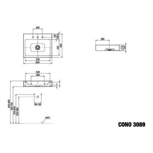 kaldewei cono wandwaschtisch 60 x 50 x 12 cm perleffekt ohne hahnloch design in bad. Black Bedroom Furniture Sets. Home Design Ideas