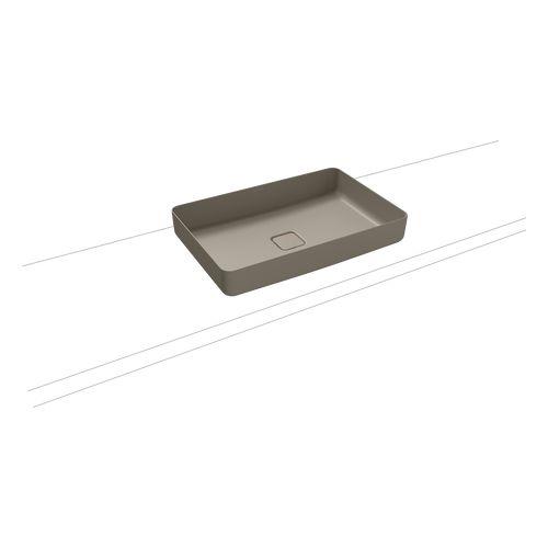 Miena Aufsatzwaschtisch - Schale eckig, ohne Überlauf inklusive Perl-Effekt 58 x 38 cm, perlgrau (matt)