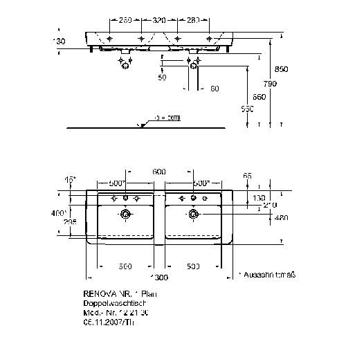 Keramag Renova Nr 1 Plan Doppelwaschtisch 130 X 48 Cm 122130