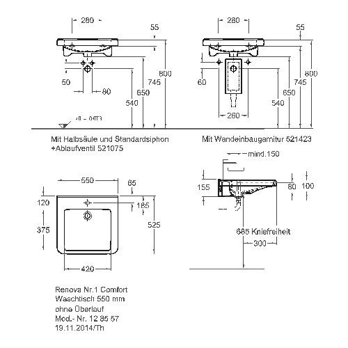 Keramag Renova Nr 1 Comfort Waschtisch Unterfahrbar Mit Hahnloch