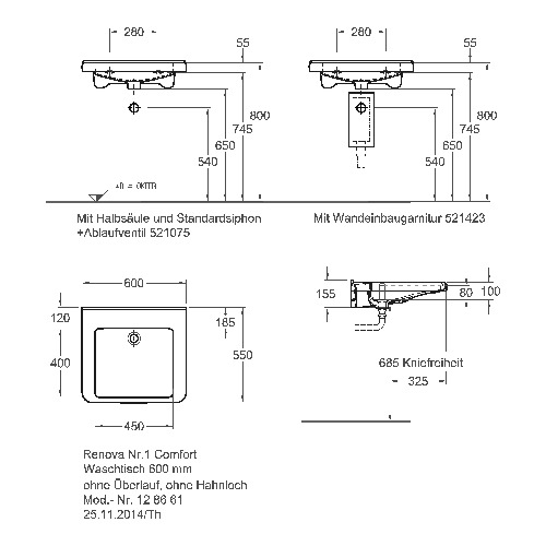 Keramag Renova Nr 1 Comfort Waschtisch Unterfahrbar Ohne überlauf