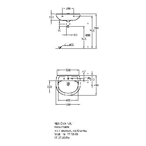 Geberit (ehem. Keramag) Renova Nr. 1 Waschtisch 60 x 49 cm HL/ÜL beige 223060 1