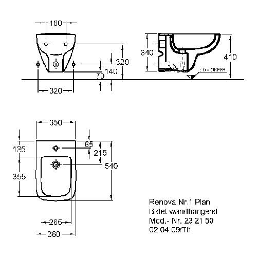 Geberit (ehem. Keramag) Bidet Renova Nr. 1 Plan 54 cm wandhängend 1
