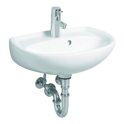 Renova Nr. 1 Handwaschbecken mit Hahnloch und seitlichem Überlauf 50 x 38 cm weiß