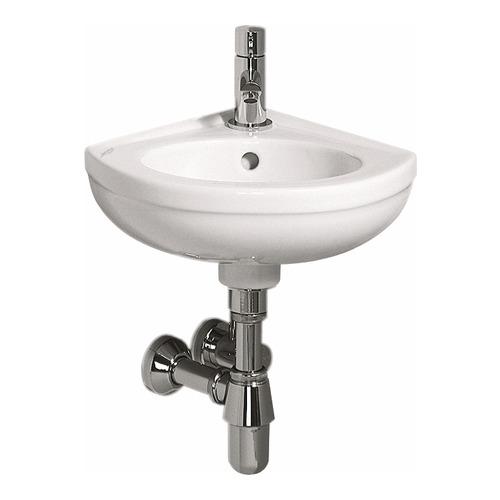 Fidelio Eck-Handwaschbecken mit Hahnloch/Überlauf, Schenkelmaß 27 x 14,5 cm weiß