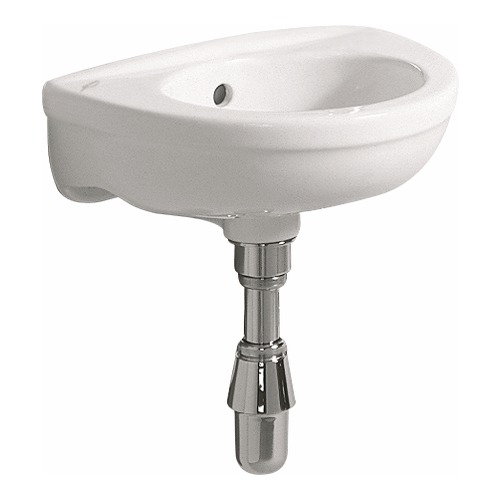 Fidelio Handwaschbecken ohne Hahnloch, mit Überlauf 37 x 25 cm weiß