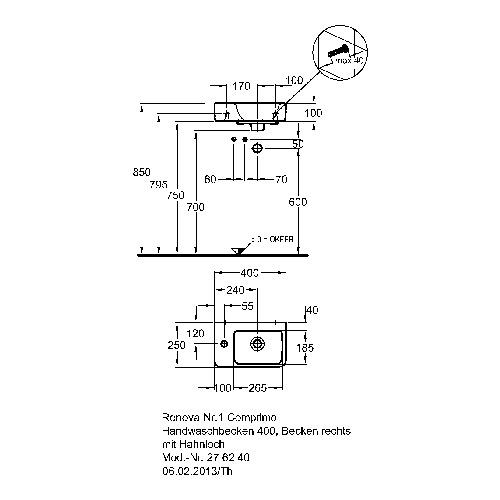 Keramag Renova Comprimo Neu Hwb 40x25cm Hl Links 276240 Design In Bad