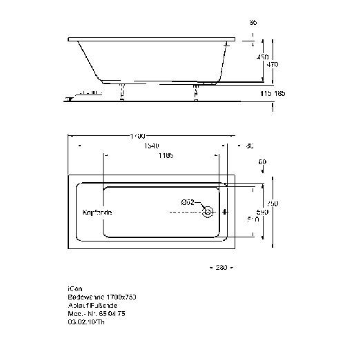 Keramag Icon Rechteck Badewanne 170 X 75 X 45 Cm 650475 Design In Bad