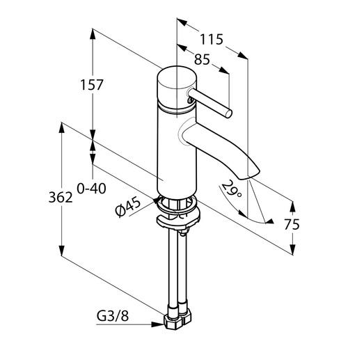 Kludi Bozz Waschtischeinhebelmischer ohne Ablaufgarnitur chrom 1