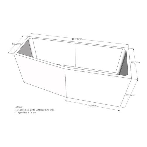 Wannenträger Bette, BetteBambino links Ablauf Fußende Ecke rechts 154 x 62 x 57,5 cm