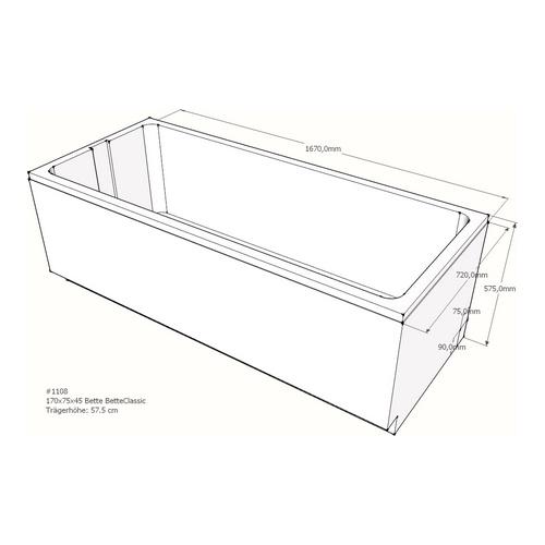 Wannenträger Bette BetteClassic 170x75x45 cm AF