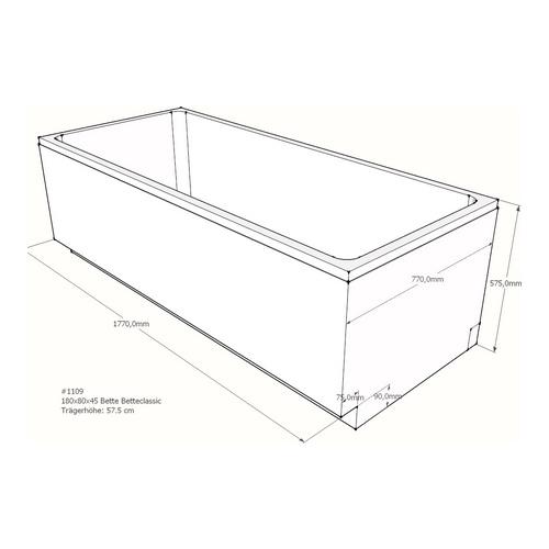 Wannenträger Bette BetteClassic 180x80x45 cm AF