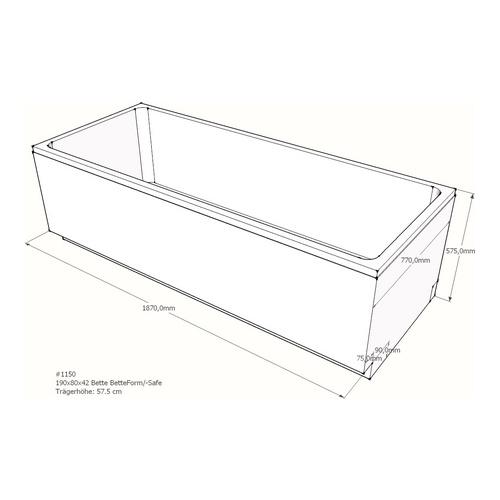 Wannenträger Bette BetteForm/-Safe 190x80x42 cm AF