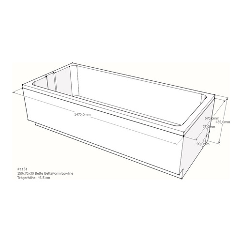 Wannenträger Bette BetteFormLowline 150x70x30 cm AF