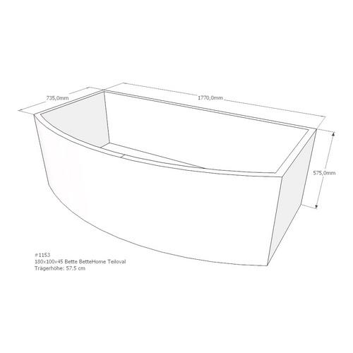 Wannenträger Bette BetteHome 180x100x45 cm Teiloval ohne Ablage